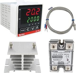 Twidec/ MV100-B10 Digital Display PID Temperature Controllers Thermostat Regulator AC 85V - 265V + K Sensor Thermocouple + Heat Sink and Solid State Relay SSR 40 DA