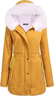 iClosam Womens Warm Hoodie Faux Fur Lined Down Parka Coats Outdoor Long Jacket Overcoat Outwear