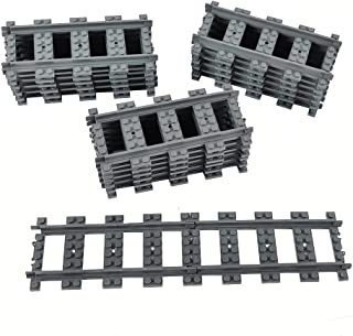 18X Straight Trains Rail Non-Powered Rail Compatible for Major Brands Train Tracks Track Railroad Construction Toy