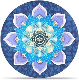 Estera De Meditación/Estera De Yoga Redonda, Alfombra De Piso Impresa Gruesa Antideslizante De Caucho Natural, Diámetro 65 Cm (Unisex),D