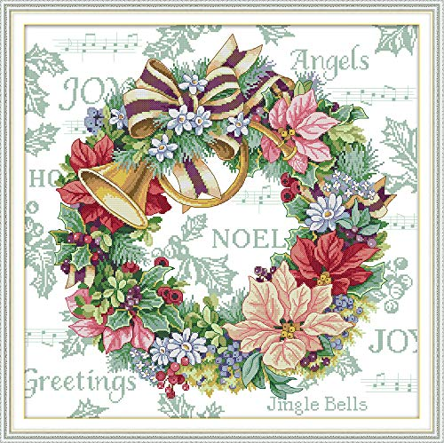 Stamped Cross Stitch Kits Quilt Pre-Printed 14CT Cross Stitch Pattern Fabric Hand Design Embroidery Kit Needle Artwork Holiday Wreath(54×54CM)