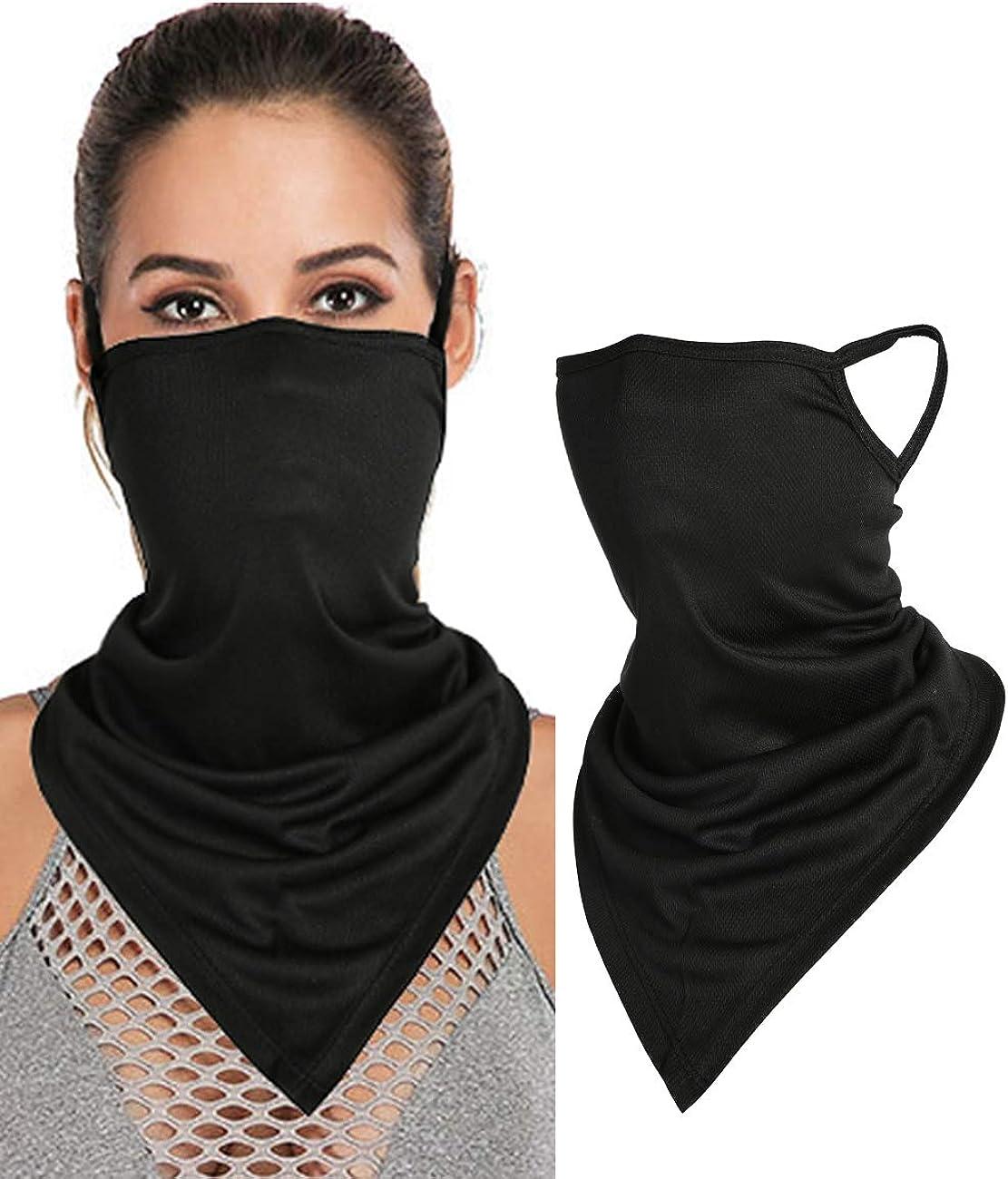 Unisex Face Bandana Masks Ear Loops Headwear Balaclava Triangle Scarf Neck Gaiters for Dust Protection