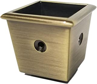 Solid Brass Square Cup Furniture Caster Cup - 2 Hole Design