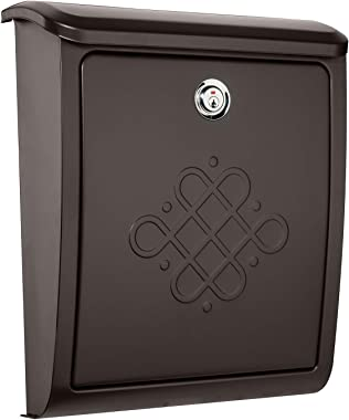 Architectural Mailboxes 2697RZ-10 Bordeaux Locking Wall Mount Mailbox, Small, Rubbed Bronze