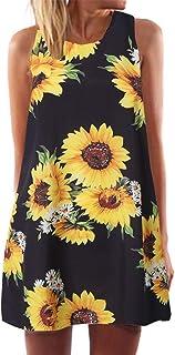 Sinfu Women Sunflower Print Sleeveless Tank Dress Summer Casual Tunic Swing Loose T-Shirt Dress