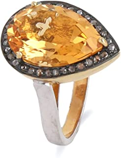 925 Sterling Silver Pear Ring With 0.24 Carat Brown Natural Diamond (I2-I3 Clarity ) and Multi-Colour Clear Citrine For Wo...