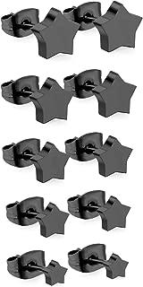 316L Stainless Steel Hypoallergenic Star Crucifix Flower-shape Stud Earrings for Women Girls,5 Pairs/Set