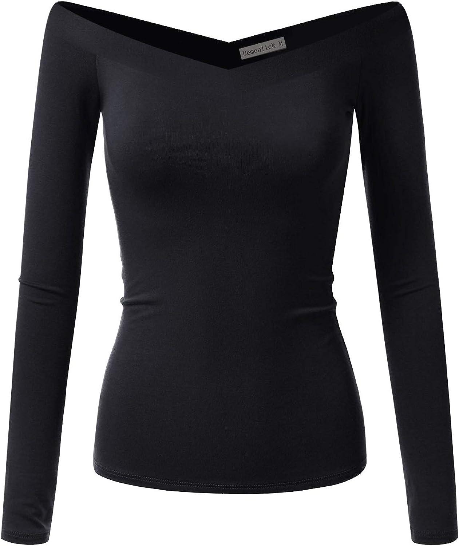 Demonlick Women Off Shoulder T Shirt Long Sleeve V Back Slim Fit Stretchy Tee Top Blouse