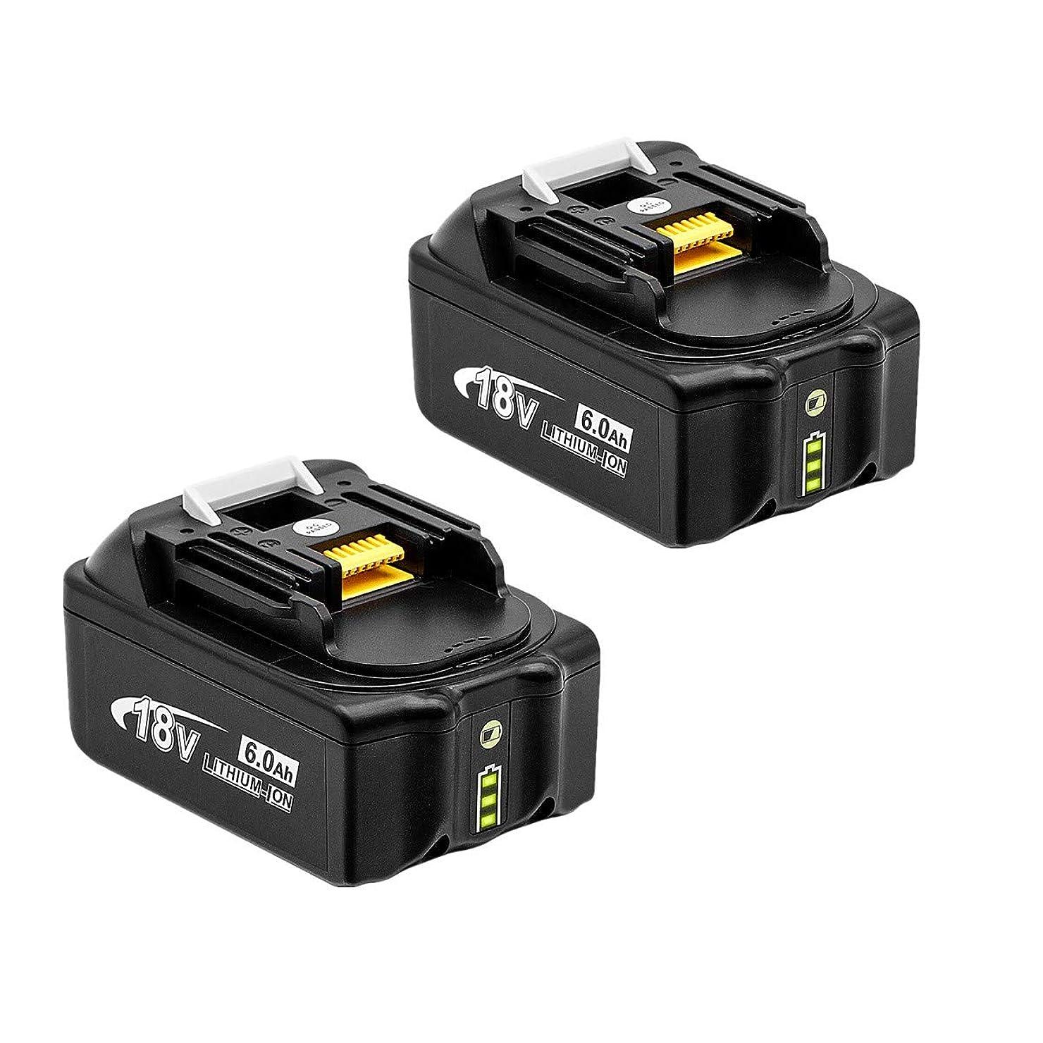 グリーンバック周り休日にRoallybattery マキタ 18v バッテリー BL1860 互換バッテリー18v 6000mAh BL1830 BL1840 BL1850 BL1860 対応リチウムイオン電池 マキタ バッテリー 1年保証