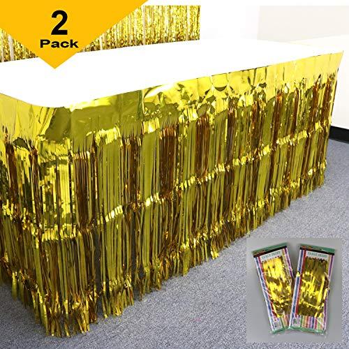 GIFTEXPRESS 2 Pack Gold Metallic Foil Fringe Table Skirt/Tinsel Foil Table Skirt/Party Table Skirt (Gold, 2-pack)