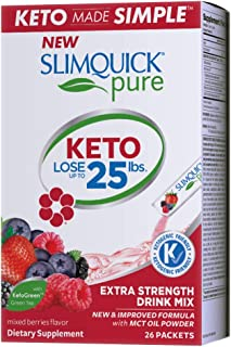 Slimquick Pure Extra Strength Mixed Berry Drink Mix, powerful dietary supplement- 26 count-Lose 3x the weight (Packaging m...