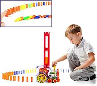 Child Intelligence Domino Electric Train Domino Car with Acousto-Optic Automatic Pendulum Chess Pieces an Electric Car / Birthday Gift