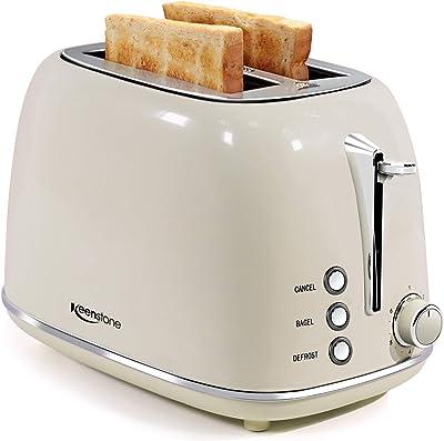 Toasters Toasters 2 Slice Retro Tostadoras de acero inoxidable con bagel, cancelación, función de descongelación y 6 ajustes de sombra de pan, tostador de bagel, beige