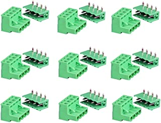 SamIdea 9Pairs 4Pole 5.08mm Plug Type Pitch PCB Mount Screw Terminal Block Kit with Right Angle Pin, AC 300V 15A(IEC)/10A(UL)