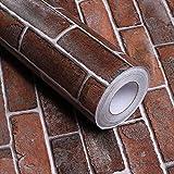 Papier Adhesif pour Meuble Brique Rouge 40cm X 5m Papier Peint Adhesif Mural Stickers Meubles PVC Imperméable Autocollant Cuisine Salle de Bain Étanche Meubles Comptoir Mur Vinyle Film
