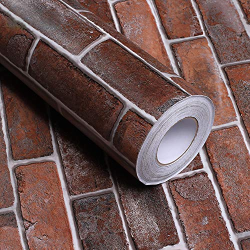 Hode Möbelfolie Selbstklebend Klebefolie Möbel Tapete Roter Backstein 40cmX5m Möbelsticker Küche PVC Wasserdicht Wand Vinyl Folie Schlafzimmer Schränke Aufkleberyl Folie Schlafzimmer Schränke