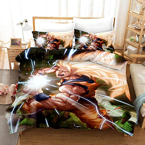 Duvet Covers King Size Beds 240x220 cm Bedding set by Microfiber with 2 Pillowcases 50x75 cm for Adult and children bed with Zipper Dragon Ball Printing Duvet Cover set