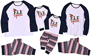 Matching Family Pajamas Sets Christmas Hat Long Sleeve Tops Pants Pants Home Service Suit EIF Squad