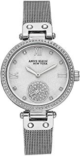 Anne Klein New York Silver-Tone Mesh Ladies Watch with Swarovski Crystals