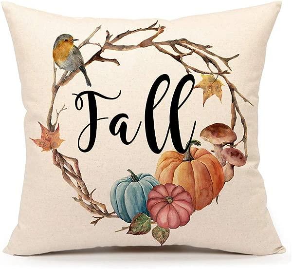 4TH Emotion Fall Pumpkin Bird Throw Pillow Cover Farmhouse Autumn Cushion Case For Sofa Couch 18x18 Inches Cotton Linen