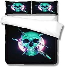 مجموعة غطاء لحاف Queen Skull 3 قطع مجموعة سرير رائعة بنمط جمجمة ، لا لحاف