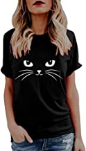 Sunmoot Clearance Sale Cute Cat Print T-Shirt for Womens Tank Tops Summer Casual Loose Short Sleeve Sleeveless Vest