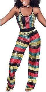 Women Mesh Hollow Out 2 Piece Set Sleeveless Spaghetti Strap Colorful Rainbow Stripe Crop Top Wide Leg Long Romper Jumpsuit