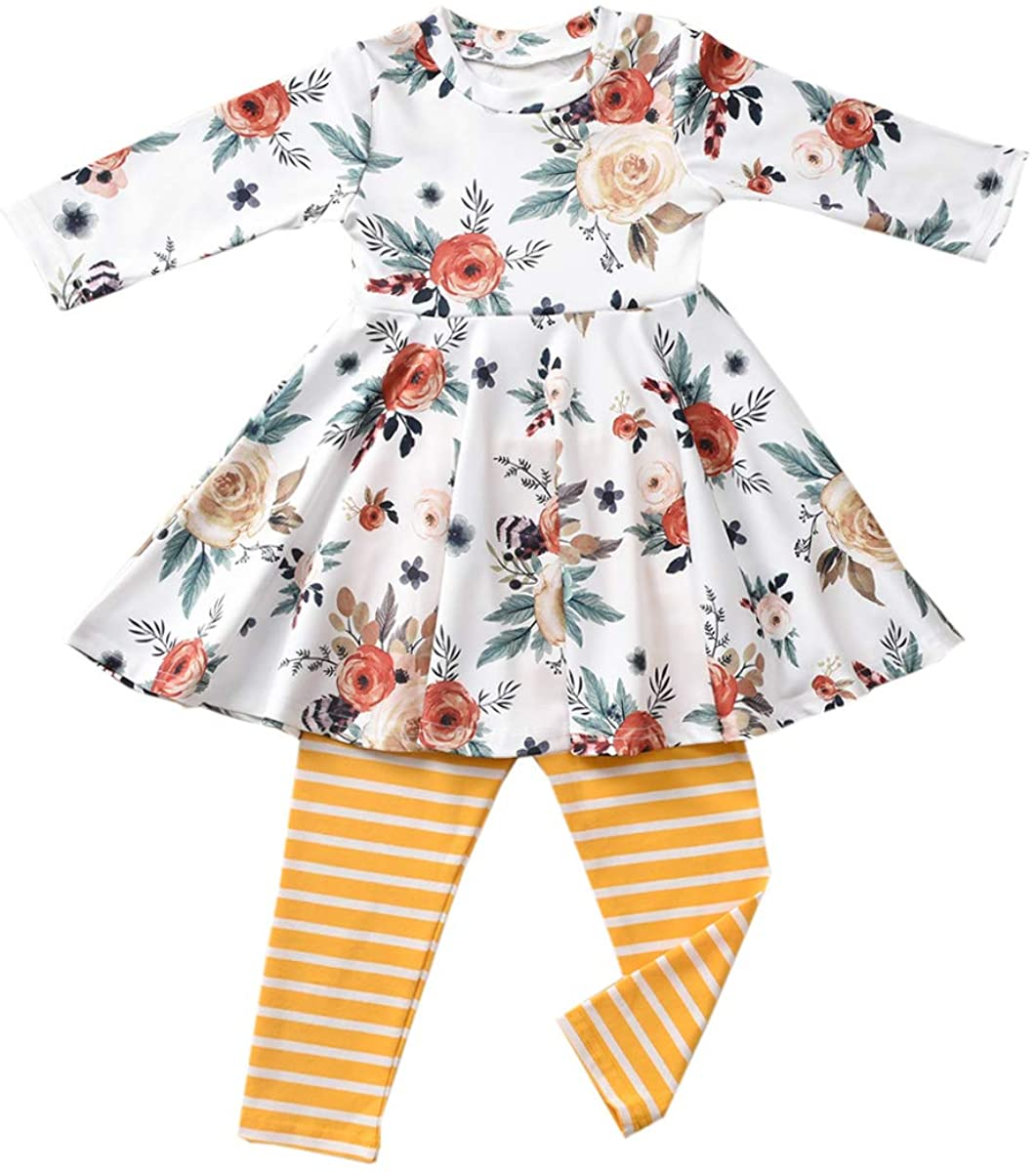 Fioukiay Special sale item Recommended Toddler-Girls-Fall-Clothes-Set Little Girls Highlow Tun