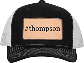 #Thompson - Leather Hashtag Light Brown Patch Engraved Trucker Hat