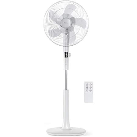 Pro Breeze Ventilateur sur pied Silencieux & Programmable, Diamètre de 40 cm, 26 Vitesses & 3 Modes de Fonctionnement, Oscillation 90°, Télécommande, Hauteur Réglable - Pour la maison, chambre - Blanc