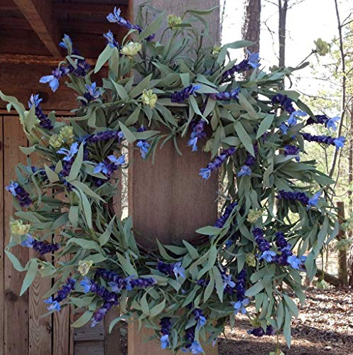 Lavender Fields Wreath 22-24' Handcrafted on a Sturdy Grapevine Base, Packed with Beautiful Blue Purple Lavender Flowers and Green Leaves. Great Year Round Wreath.