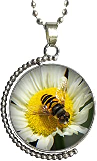 GiftJewelryShop Honeybee Gather Pollen Glass Cabochon Rotatable Lucky Pendant Necklace
