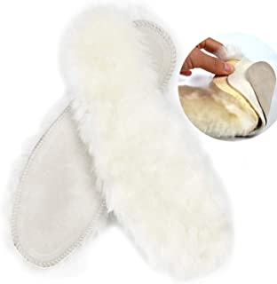 Thick Sheepskin Wool Insoles for Women & Men, Fluffy Fleece Replacement Wool Inserts for Slippers and Boots