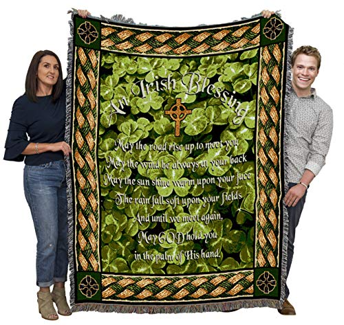 Irish Blessing - May The Road Rise Up to Meet You - Sympathy - Cotton Woven Blanket Throw - Made in The USA (72x54)