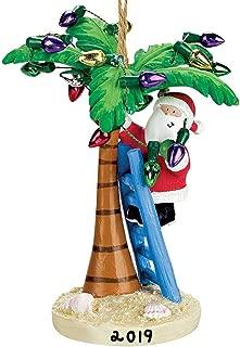 Cape Shore Coastal Santa Decorating Tropical Island Palm Tree Christmas Ornament (2019)