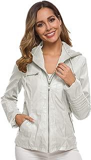 Dawwoti Women's Hooded Pu Leather Coat Slim Fit Casual Over Coat