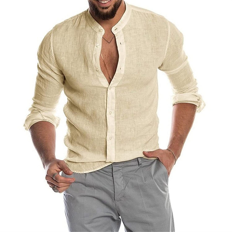 Men Long Sleeve Casual Beach Tops Cotton Linen Button Down Dress Shirt Casual Regular Fit Basic Henley Shirts (XXX-Large,Khaki)