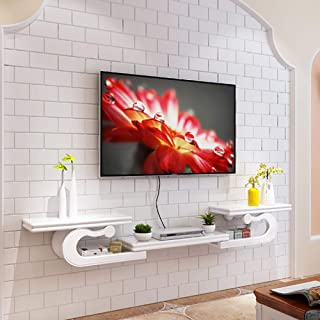 Tv Shelf Wall Mounted,Wood European Media Console Wall Floating Shelf Hanging Tv Cabinet for Cable Boxes Routers DVD