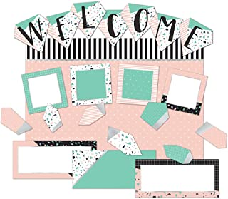 Eureka ''Welcome'' Pink and Green Confetti Pattern Back to School Bulletin Board Set and Classroom Decorations for Teachers, 22pcs
