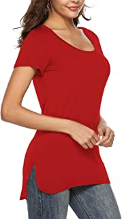 Womens Summer Plain Split Tops Loose High Low Long T Shirts