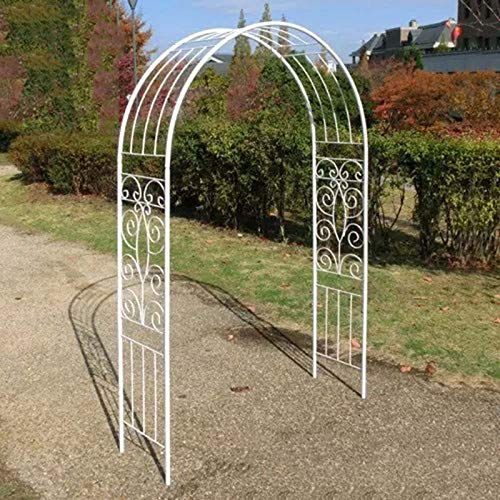 HRXQ Metal Arch Wedding Rose Arch for Climbing Plants Garden Arbors and Arches Pergola Arbor for Climbing Plants Bridal Party Decoration - 51″×15″×76″ (Black& White)