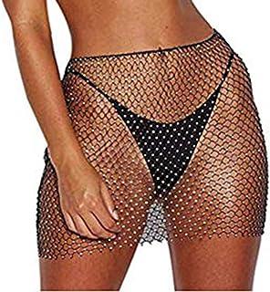 JRPONY Women Sexy Mesh See through Rhinestone Fishnet Mini Skirts Beach Wrap Cover Up for Swimwear
