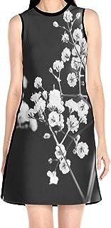 ブラックローズ かすみ草 白黒 花柄ワンピース ワンピース レディース カジュアル 夏物 夏服 スカート おしゃれ 洋服 ファッション 流行る