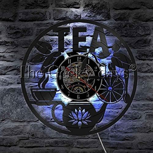 zgfeng Clásico CD Record Tetera Tea Time Vinilo Reloj de Pared CD Record Clock 3D Decoración de Bebidas