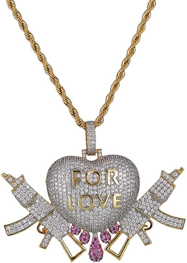 MOCA Jewelry Hip Hop Iced Out Love Heart Pendant Couple 18K Gold Plated Necklace, Gift Idea for Lover Men Women