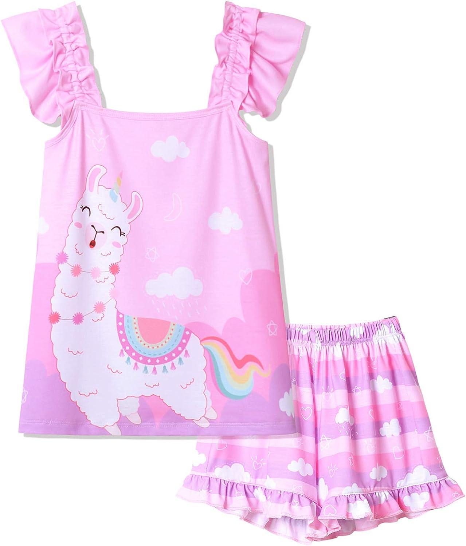 Girls Pajamas Set Sleepwear Cotton Unicorn Pjs Clothes Night Shirts Summer