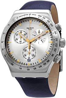 Swatch YVS460 Leather Chronograph Contrast Markers Round Analog Watch for Men - Navy