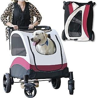 Vikbar hundvagn husdjursvagn, liten medium stor hundvagn för hundar, hundbuggy presenter för husdjur (bärförmåga: 60 kg)
