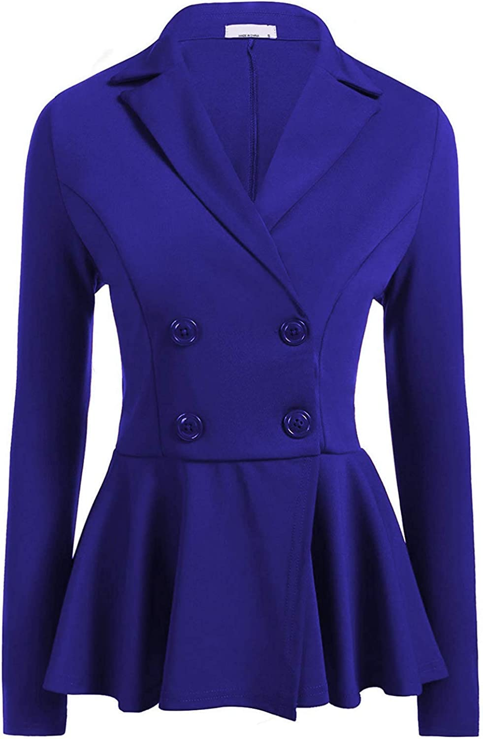Befily Womens Work Office Open Front Blazer Casual Long Sleeve Jacket with Buttons bluee