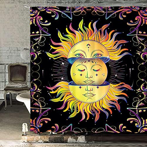 LIGHTINHOME Sonne & Mond Duschvorhang 152 x 183 cm (B x H), psychedelisch mystisch himmlisch Tarotkarte bunt Hippie Stoff Stoff wasserdicht Polyester Badezimmer Heimdekor-Set mit 12 Kunststoffhaken